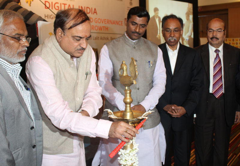 The Union Minister for Chemicals and Fertilizers, Shri Ananth Kumar lighting the lamp to inaugurate the Conference on Digital India - Highway for Good Governance and Economic Growth, in Bengaluru on January 09, 2016.