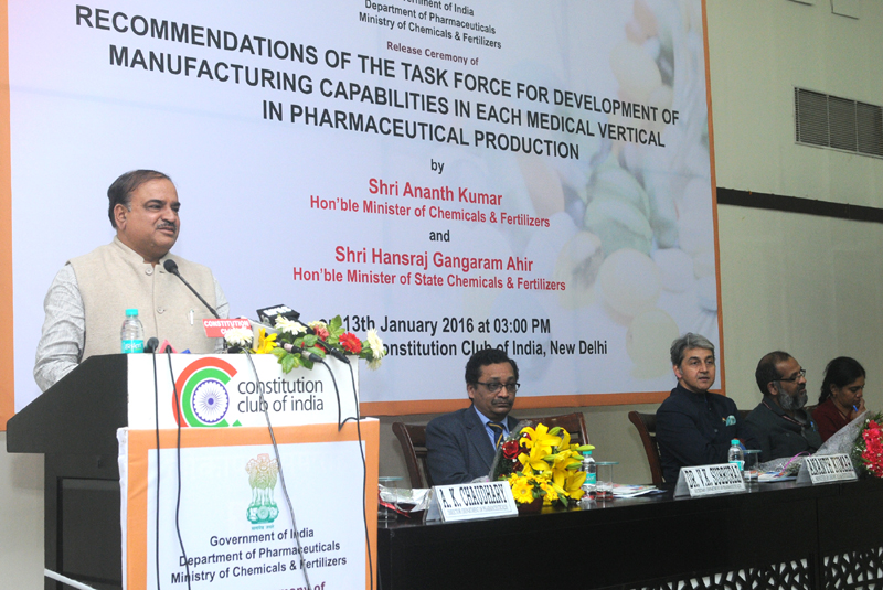 The Union Minister for Chemicals and Fertilizers, Shri Ananth Kumar addressing at the release of the report of Task Force for development of manufacturing capabilities in each medical vertical in Pharmaceutical Production, in New Delhi on January 13, 2016. The Secretary, Department of Pharmaceutical, Shri V.K. Subburaj and other dignitaries are also seen.