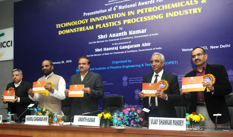 The Union Minister for Chemicals and Fertilizers, Shri Ananth Kumar releasing the publication at the presentation ceremony of the 6th National Awards for Technology Innovation in Petrochemicals & Downstream Plastics Processing Industry, in New Delhi on January 20, 2016. The Minister of State for Chemicals & Fertilizers, Shri Hansraj Gangaram Ahir and other dignitaries are also seen.