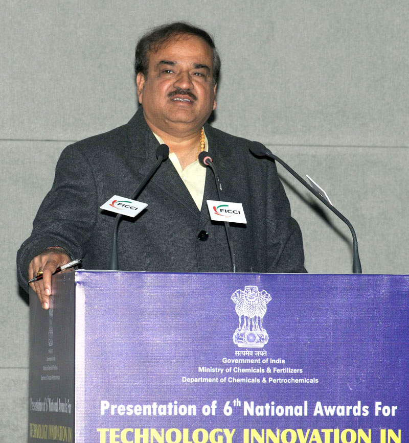 The Union Minister for Chemicals and Fertilizers, Shri Ananth Kumar addressing at the presentation ceremony of the 6th National Awards for Technology Innovation in Petrochemicals & Downstream Plastics Processing Industry, in New Delhi on January 20, 2016.