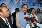 "The Union Minister for Chemicals and Fertilizers, Shri Ananthkumar interacting with the media after unveiling the World's largest GFRG (Glass Fiber Reinforced Gypsum) Panel – ""Gypwall"", at the India International Trade Fair, 2014, at Pragati Maidan, in New Delhi on November 14, 2014"