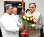 The Chief Minister of Karnataka, Shri Siddaramaiah calling on the Union Minister for Chemicals and Fertilizers, Shri Ananthkumar, in New Delhi on December 03, 2014