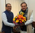 The Chief Minister of Madhya Pradesh, Shri Shivraj Singh Chouhan calls on the Union Minister for Chemicals and Fertilizers, Shri Ananthkumar, in New Delhi on January 14, 2015.