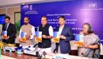 The Union Minister for Chemicals and Fertilizers, Shri Ananthkumar releasing the Proceedings of the 12th National Pharmaceuticals Conclave, in New Delhi on March 20, 2015. The Minister of State for Chemicals & Fertilizers, Shri Hansraj Gangaram Ahir and other dignitaries are also seen.