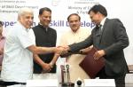 The Union Minister for Chemicals and Fertilizers, Shri Ananth Kumar the Minister of State for Skill Development & Entrepreneurship (Independent Charge) and Parliamentary Affairs, Shri Rajiv Pratap Rudy witnessing the signing ceremony of an MoU between Ministry of Skill Dev & Entrepreneurship and Ministry of Chemicals & Fertilizers on Skill Development, in New Delhi on July 09, 2015.