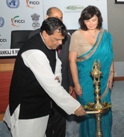 The Minister of State for Chemicals and Fertilizers, Shri Srikant Jena lighting the lamp to inaugurate the India Pharma Summit – 2011, in New Delhi on November 29, 2011